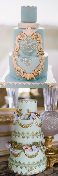 Beautiful Baroque cakes work well for the romantic or bohemian bride!