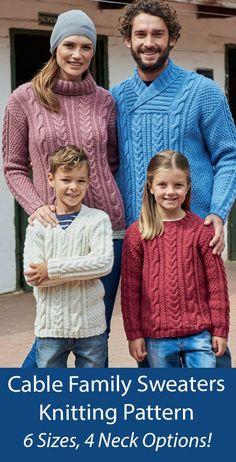 """Family Sweater Knitting Patterns Family Hayfield 8166 Cable pullovers in sizes for children and adults. 4 neck options including Round Neck, V Neck and Wrap Neck Sweaters . Sizes To Fit Bust/Chest: 24/26"""", 28/30"""", 32/34"""", 36/38"""", 40/42"""", 44/46"""". Designed by Sirdar as 8166. Aran weight yarn."""