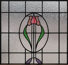 Antique Stained Glass Tulips