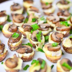 Roasted Potato Bites with Brie & Mushrooms