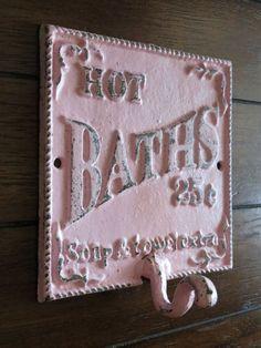 Shabby Chic Bathroom Hook / Cast Iron Sign / Towel Wall Hook / Pale Pink /Distressed/ Metal Wall Hook /Bathroom Hook / Fixture