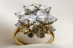 Vintage Yellow and White Diamond Cluster Ring