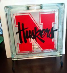 N Huskers glass block (with out shreds)