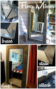 This is an awesome EASY way to make a floor mirror as big as you want :) Have mirror cut to order from a glass shop or get any mirror and unframe it.