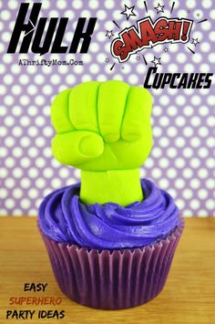 Hulk Smash Cupcakes, Super hero themed birthday party ideas, Easy dessert ideas for boys, avengers party ideas