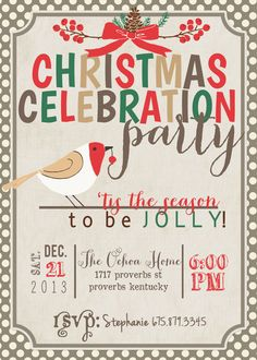 Christmas Family Party Invite 5x7 JPG by AStitchOfHandmade