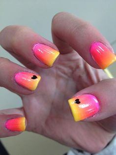 Bright ombre with little black hearts nail art: four color colour design: pink, orange, yellow and black gradient summer 2013 Fancy Nails, Trendy Nails, Diy Nails, Cute Nails, Bright Summer Nails, Bright Nails, Bright Colored Nails, Nail Summer, Pink Summer