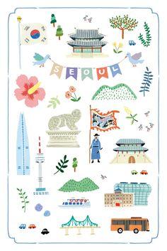 엽서로 제작될 그림들입니다 ^^ 서울 , 그리고 남산타워를 주제로 하였고 서울 관광지 곳곳에 판매될 예정입니다 . Korean Illustration, Travel Illustration, Cute Illustration, Korean Design, Korean Art, Korean Language, Journal Stickers, Map Design, Book Projects