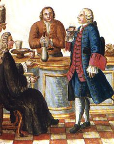 Jan van Grevenbroeck Venetian Noblemen in a Cafe (w/c on paper) Museo Correr, Venice, Italy Chocolate Pots, Chocolate Coffee, Coffee Vs Tea, Old Ads, Vintage Coffee, European Fashion, Larp, Historical Photos, Kaffe