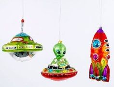 Glass Christmas Ornaments - Flying Saucer Christmas Ornament, Alien UFO Christmas Ornament and Rocket Ship Christmas Ornament!    Just because it's Christmas time doesn't mean yuo can't embrace your love of sci-fi!