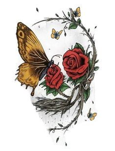 2 Skull Butterfly Change Rose Goth Death Dead Chic Pretty Vinyl Cool Sticker #decals #stickers #vinyl #art (ebay link) Skull Tattoo Flowers, Skull Rose Tattoos, Flower Tattoos, Dead Rose Tattoo, Sexy Tattoos, Body Art Tattoos, Tattoo Drawings, Caveira Mexicana Tattoo, Butterfly Drawing