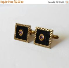 Vintage Swank Lions International Cuff links Gold tone Black Toggle Back Back to School Sale Lions Clubs International, Back To School Sales, Vintage Jewelry, Cufflinks, Buy And Sell, Pairs, Etsy Shop, Unique, Gold