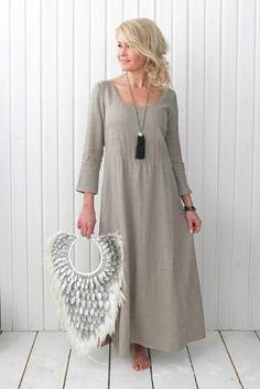 SALENTO DREAM Dress, Natural - tassel necklace is beautiful, but forget this creasy bag Long Linen Dresses, Women's Dresses, Cotton Dresses, Nice Dresses, Fashion Dresses, Spring Dresses Casual, Trendy Dresses, Summer Dresses, Dream Dress