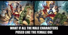 What if all male characters posed like the female one?!