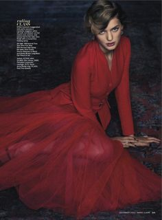 Bregje Heinen for Marie Claire December 2012 in Dior Red Dress. Yes!