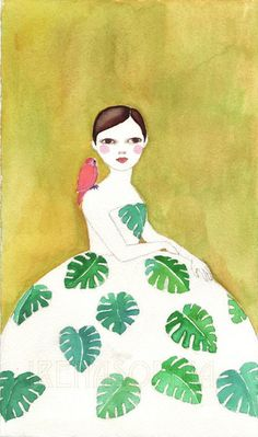 Monstera Girl print of original watercolor by IrenaSophia on Etsy