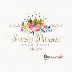 princess logo design gold foil crown logo by stylemesweetdesign