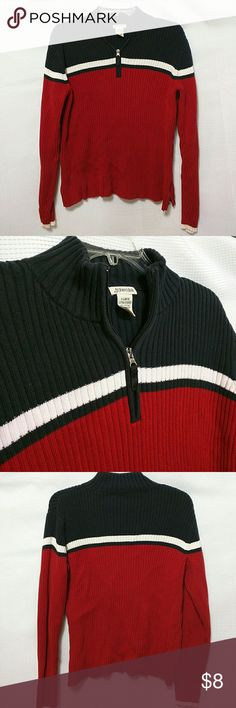 St. John's Bay Top XL 100% cotton ribbed sweater, red, black, creme, with zipper at collar St. John's Bay Tops