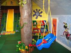 Best Indoor Playroom in Your House : Wonderful Indoor Playroom Blue Swing Wood Replica Pillar Green Floor