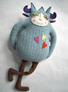 Stuffed Animal Monster Repurposed Angora Wool Upcycled Sweater Mr Crazy Legs