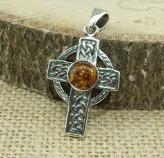 Cognac Baltic Amber 925 Sterling Silver Celtic Cross Pendant in Jewellery & Watches, Fine Jewellery, Necklaces & Pendants | eBay!