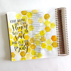Bible Journaling With Me- Watercolor Honeycomb- With A Free Printable - Scribbling Grace Bible Drawing, Bible Doodling, Bible Verses Quotes, Bible Scriptures, Bibel Journal, Bible Notes, Illustrated Faith, Bible Art, Free Printable