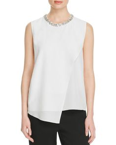 Magaschoni Embellished Silk Blouse