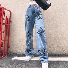 Sweetown Butterfly Pattern Baggy Denim Pants Women Korean Fahion High Waist Wide Leg Trousers Casual Loose Plus Size Streetwear Indie Outfits, Retro Outfits, Cute Casual Outfits, Fashion Outfits, Denim Outfits, Indie Clothes, Womens Fashion, Looks Hip Hop, Mode Vintage