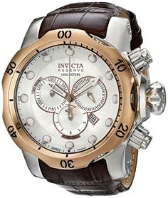 Men's Wrist Watches - Invicta Mens 0359 Reserve Collection Venom Chronograph Brown Leather Watch * Continue to the product at the image link.
