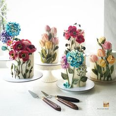 Flower Cafe, Buttercream Flower Cake, Mom Cake, Beautiful Birthday Cakes, Spring Cake, Painted Cakes, Just Cakes, Floral Cake, Edible Art