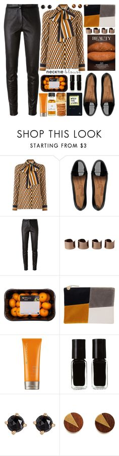 """""""Fall Trend: Necktie Blouse"""" by barbarela11 ❤ liked on Polyvore featuring FitFlop, Ann Demeulemeester, Maison Margiela, Moroccanoil, The New Black and Irene Neuwirth"""