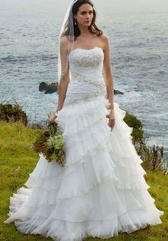 Robe de bal en organza bretelles naturel taille balayage / pinceau train robe de mariée