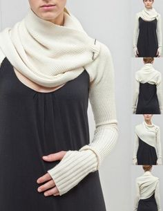 Sleeve Shrug - essentially 2 separate  sleeves with a long rectangular fabric attached. Once placed on the arms, the 2 separate pieces can be wrapped around the body and/or entwined together to secure it. Would be interesting to mix different color sleeves.