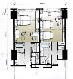 Hotel plan Hotel Floor Plan, House Floor Plans, Plano Hotel, Hotel Original, Site Layout Plan, Resort Plan, Hotel Room Design, Apartment Floor Plans, Hospital Design
