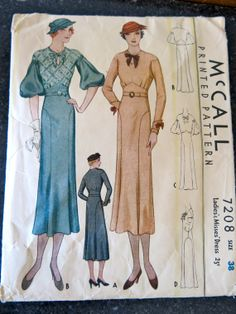 vintage 1930s McCall Fitted DRESS Sewing Pattern di leisurepony