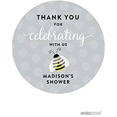 Andaz Press Mama to Bee Bumblebee Baby Shower Collection, Personalized  Round Circle Label Stickers,