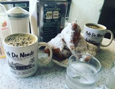 Mama we made it. Café Du Monde was better than I could have ever dreamed and worth fighting through a gluten attack  #nola #frenchquarter #cafedumonde #beignets #chicory #coffee #french #market #nolasb2k16 #travel #goodeats #desserts #foodie #instagood #instatravel #donuts #kabkitchen #kabit by kabkitchen