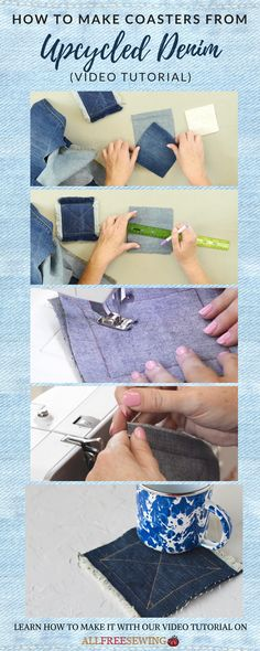 Learn how to make coasters from old jeans with this video tutorial! #sewing