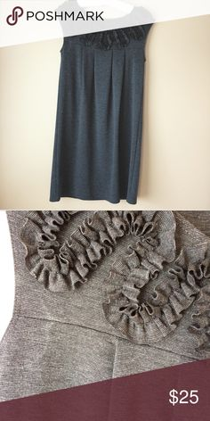 Nic and Dom Grey Ruffle Sleeveless Dress A little bit of pilling and a stain by the one arm, but still in good condition. Fits a size 6. Nic and Dom Dresses Mini