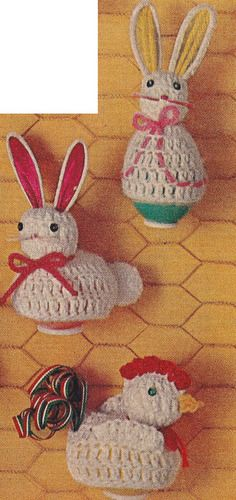 Vintage Crochet PATTERN Easter Egg Covers Bunny Chicken EasterEggCovers