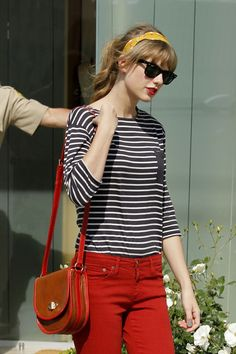 Taylor Swift In Stripes and Red Colored Jeans