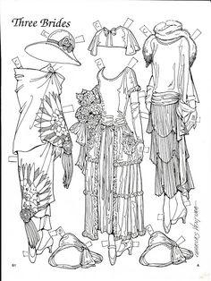 Three Brides Paper Dolls by Charles Ventura - Maria Varga - Picasa Web Albums Colouring Pages, Adult Coloring Pages, Coloring Sheets, Coloring Books, Paper Dolls Printable, Picasa Web Albums, Vintage Paper Dolls, Colored Paper, Doll Toys