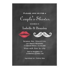 Mustache & Lips Couple's Shower Invitation