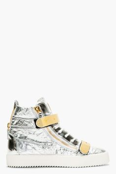 Giuseppe Zanotti Silver Textured Leather Metal Accent High-top Sneakers for men | SSENSE