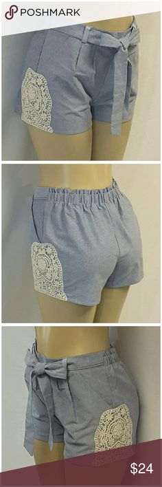 "Offers of 40% Less on BUNDLES Always Accepted! MIAMI, MADE IN USA, Chambray Shorts, size Small See Measurements, crochet outer seam hemline, self-tie front, front pleats, slant front pockets, elastic back waistband, lightweight chambray material, 100% polyester, approximate measurements: 14.5"" waist laying flat but stretches to 16"" comfortably, 1.5"" inseam, 11"" rise.   ADD TO A BUNDLE!  Offers of 40% Less on BUNDLES Always Accepted! Miami Shorts"