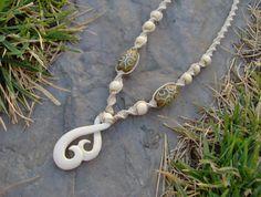 Hemp Necklace w/ Carved Bone Swirl Koru Pendant