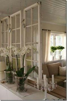 Old windows make a great room divider for a shabby chic decor! Old windows make a great room divider for a shabby chic decor! Old Window Frames, Old Window Ideas, Old Window Decor, Windows Decor, Decor With Old Windows, Room Window, Old Window Headboard, Old Window Projects, Recycled Windows