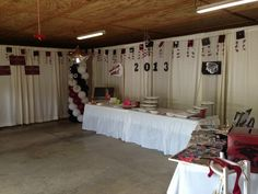 Graduation party. Curtain draping in garage