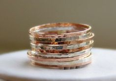 Stackable silver and rose gold rings