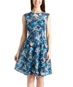 Look at this #zulilyfind! Black & Blue Floral Fit & Flare Dress by Shelby & Palmer #zulilyfinds